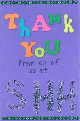 home-made thank you card