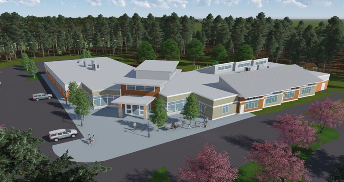 Exterior rendering of the Center of Excellence